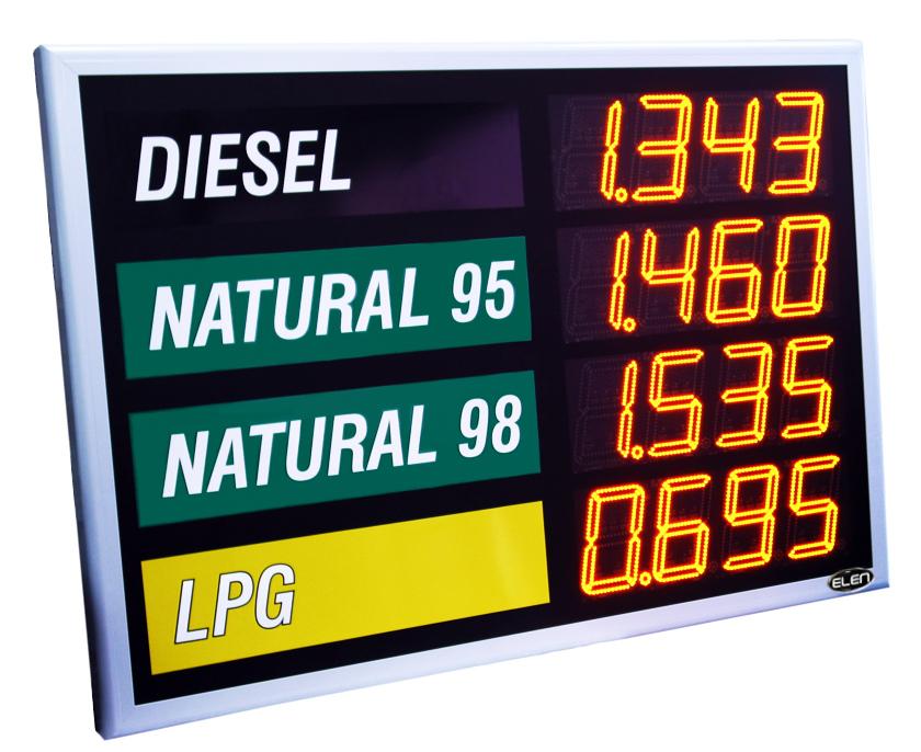 Displej - aktuálne ceny PHM, 212 mm čísla