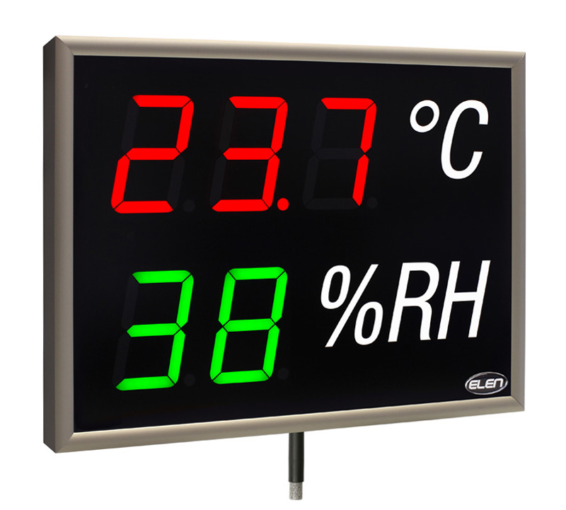 Air temperature and humidity LED display with sensor -<br/>NDA 100/3-2 THS RG L30 230AC LAN