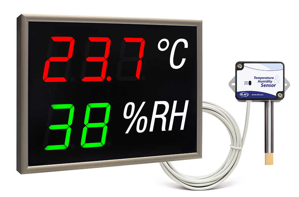 Air temperature and humidity LED display -<br/>NDA 100/3-2 TH RG L30 230AC LAN