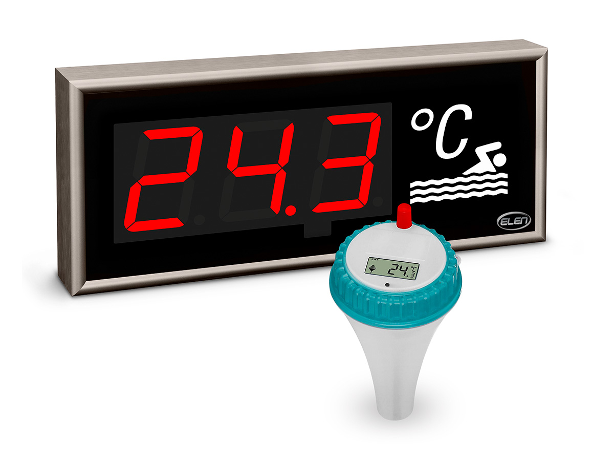 Swimming pool water temperature monitor -<br/>Large-size LED Thermometer CDN 100/3 T R L20 230AC IR/RF