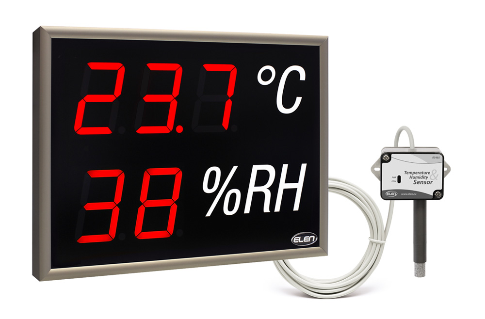 Air temperature and humidity LED display with external sensor -<br/>NDA 100/3-2 TH R L20 230AC USB