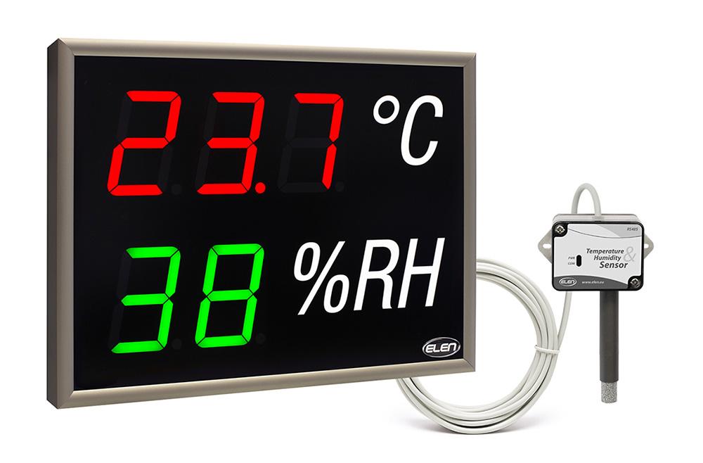 Air temperature and humidity LED display with external sensor -<br/>NDA 100/3-2 TH RG L20 230AC LAN