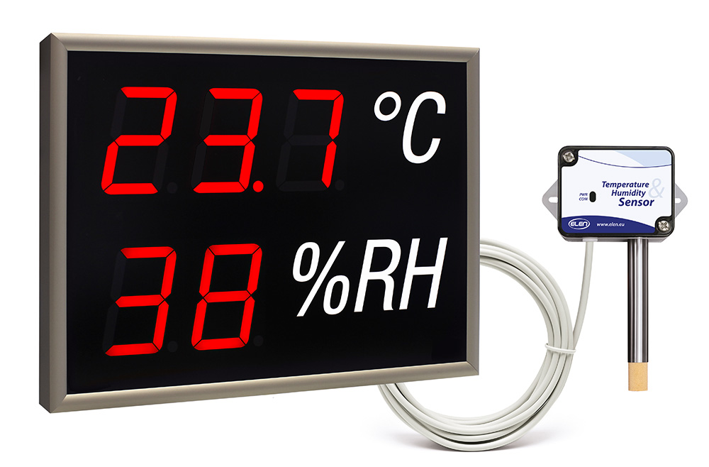 Air temperature and humidity LED display -<br/>NDA 100/3-2 TH R L20 230AC USB