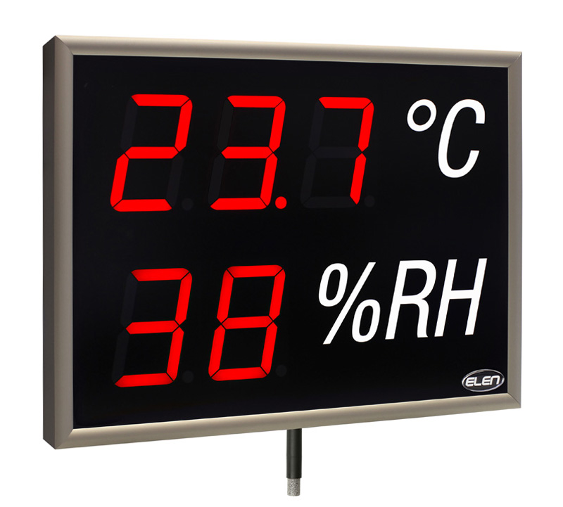 Air temperature and humidity LED display with sensor -<br/>NDA 100/3-2 THS R L20 230AC USB