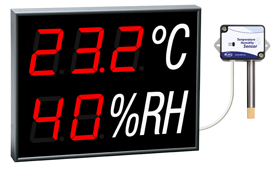 Zobrazovanie teploty a vlhkosti vzduchu -<br/>s externým snímačom a RS485 -<br/>CDN 100 TH R L20 230AC RS485