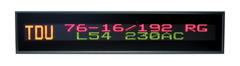 Text message display –<br/>TDU 76-16/192 RG L54 230AC